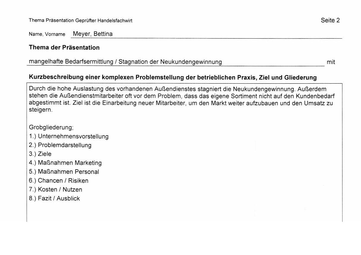 Themenvorschlag Themenbeschreibung Grobgliederung mündliche Prüfung Thema einreichen