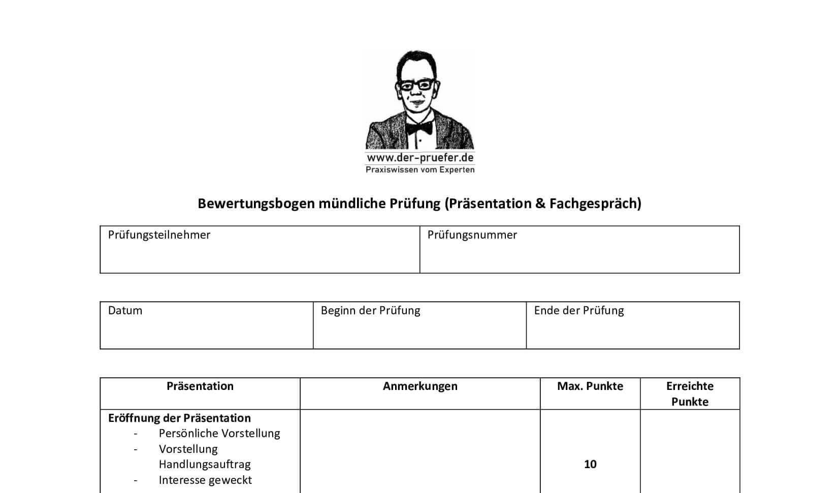 Beurteilungsbogen Beurteilung Bewertung Kriterien Prüfer Prüfungsausschuss
